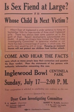 Poster by the Albert Dyer Case Investigating Committe by citizens who thought a serial killer was at large.